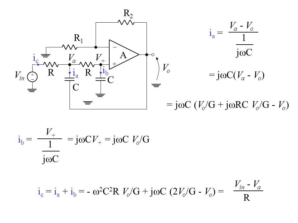 + A R1R1 R2R2 VoVo + V in R C R C VaVa iaia ia =ia = V a - V o 1 jCjC = j  C(V a - V o ) = j  C (V o /G + j  RC V o /G - V o ) ib =ib = V+V+ 1 j