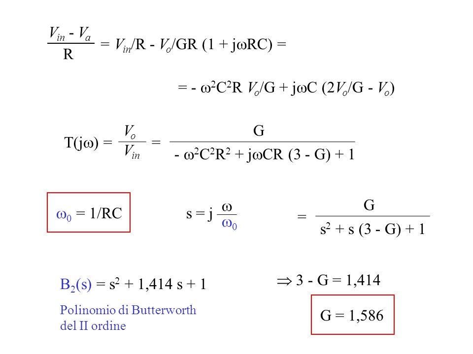 Filtro Passa-basso di Butterworth di ordine qualsiasi Ordine n pari Si realizzano utilizzando in cascata più filtri del I e II ordine A n = 2 B C B 4 (s) = (s 2 + 0,77 s + 1)(s 2 + 1,85 s + 1) Esempio: filtro del 4° ordine 3 - G = 0,77 G = 2,23 3 - G = 1,85 G = 1,15    = 1/RC per tutti i filtri