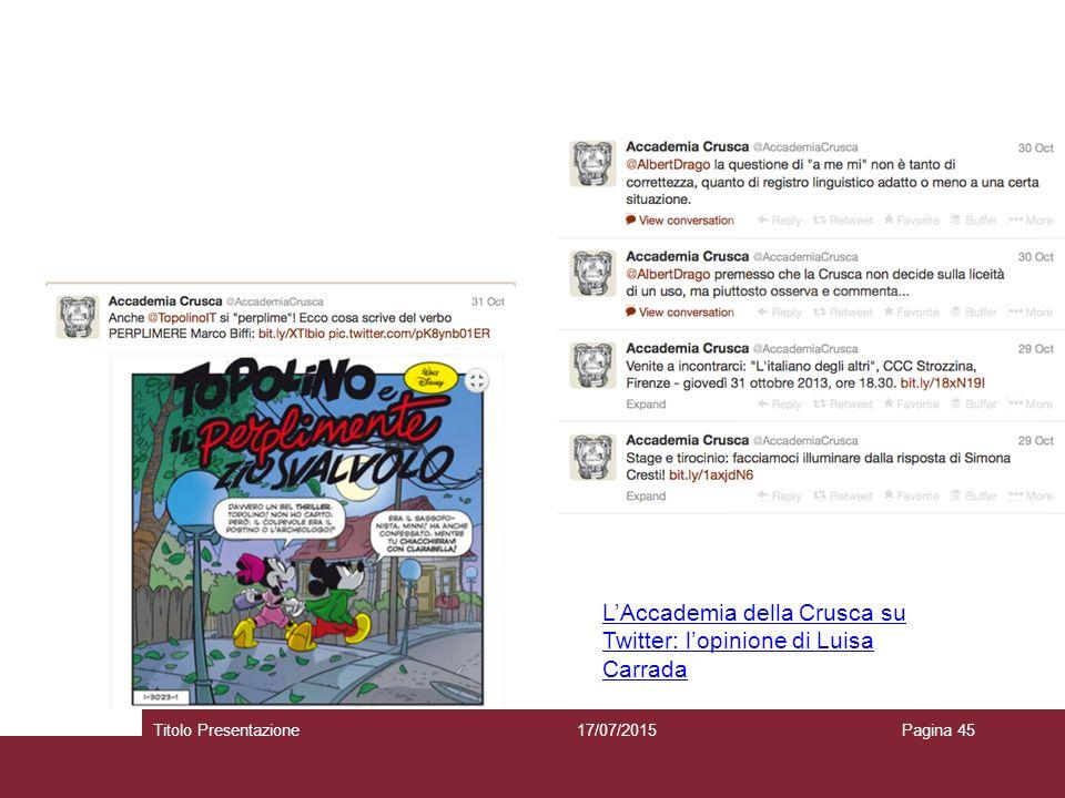 17/07/2015Titolo PresentazionePagina 45 L'Accademia della Crusca su Twitter: l'opinione di Luisa Carrada