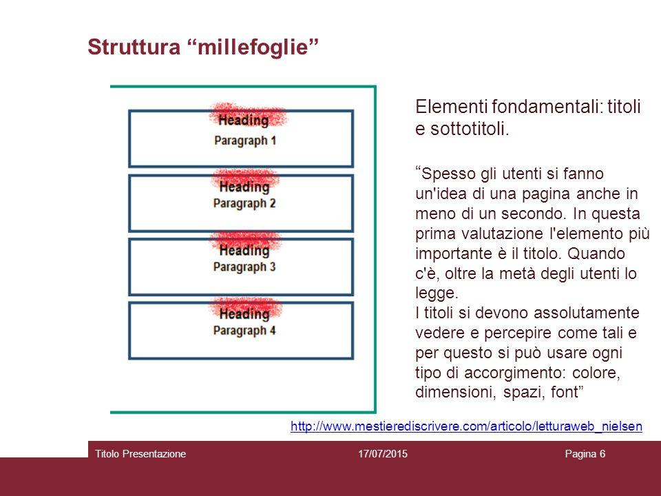 Struttura millefoglie 17/07/2015Titolo PresentazionePagina 6 http://www.mestierediscrivere.com/articolo/letturaweb_nielsen Elementi fondamentali: titoli e sottotitoli.