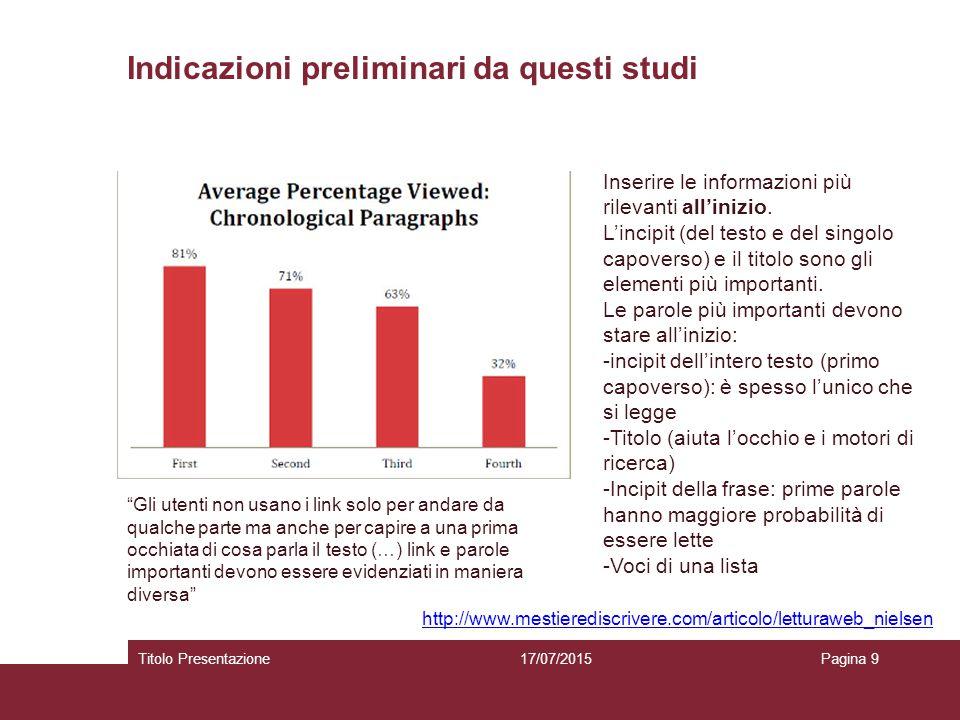 Indicazioni preliminari da questi studi 17/07/2015Titolo PresentazionePagina 9 Inserire le informazioni più rilevanti all'inizio. L'incipit (del testo