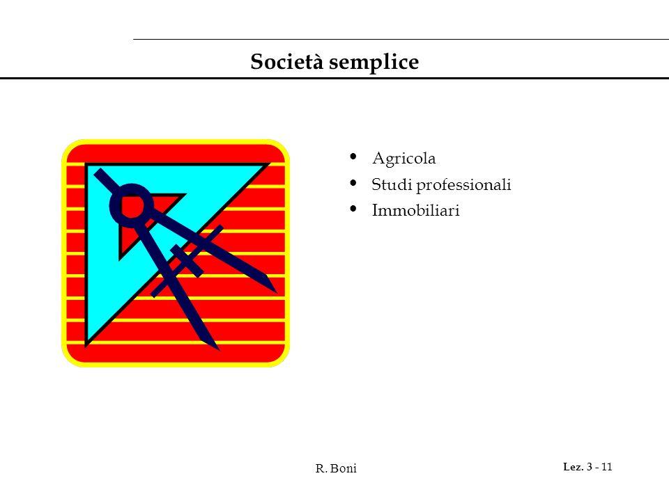 R. Boni Lez. 3 - 11 Società semplice Agricola Studi professionali Immobiliari