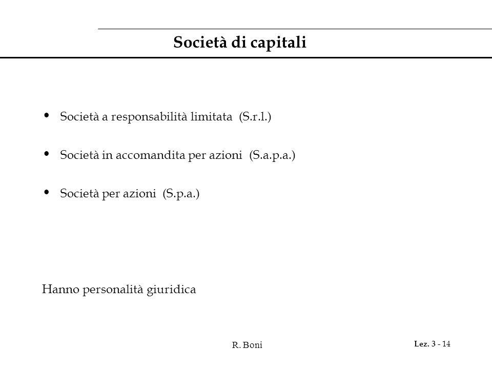 R. Boni Lez. 3 - 14 Società di capitali Società a responsabilità limitata (S.r.l.) Società in accomandita per azioni (S.a.p.a.) Società per azioni (S.