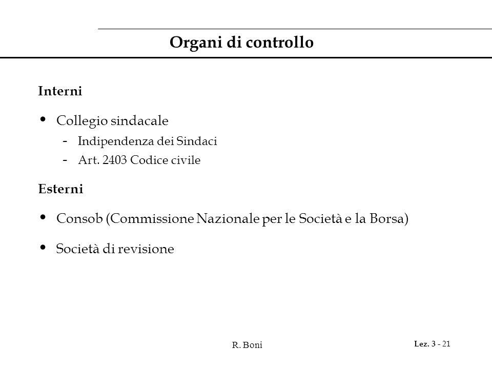 R. Boni Lez. 3 - 21 Organi di controllo Interni Collegio sindacale - Indipendenza dei Sindaci - Art. 2403 Codice civile Esterni Consob (Commissione Na