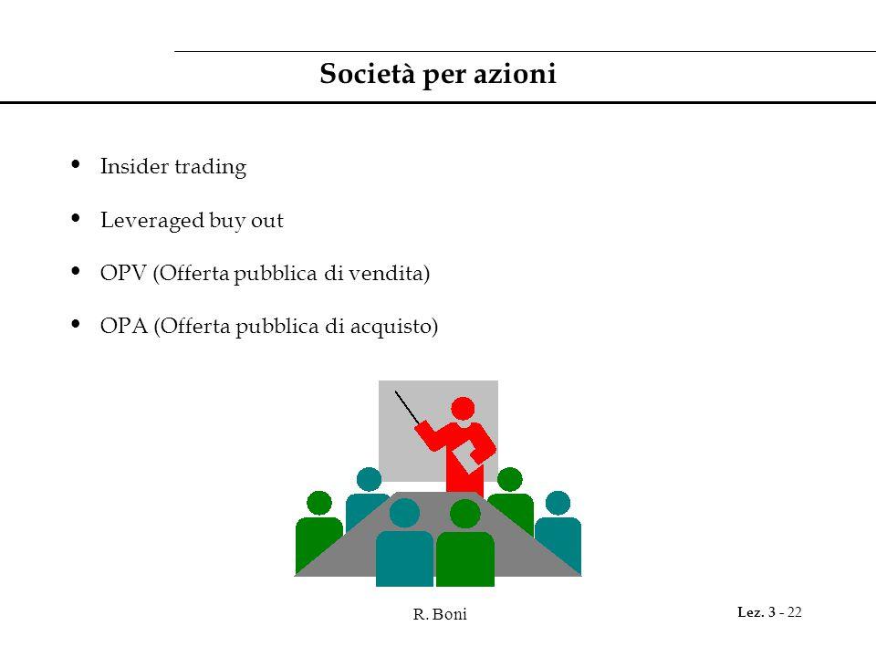 R. Boni Lez. 3 - 22 Società per azioni Insider trading Leveraged buy out OPV (Offerta pubblica di vendita) OPA (Offerta pubblica di acquisto)