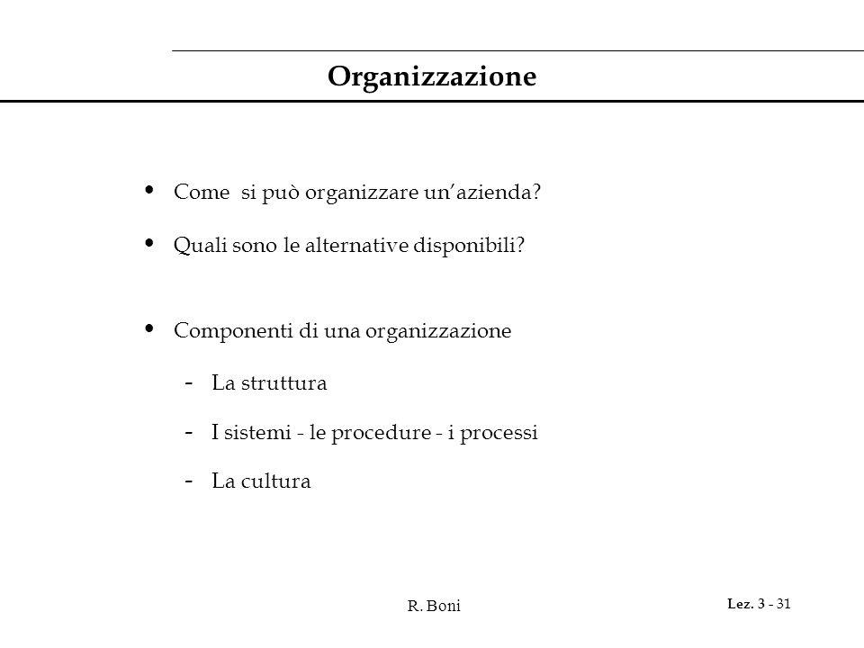 R. Boni Lez. 3 - 31 Organizzazione Come si può organizzare un'azienda? Quali sono le alternative disponibili? Componenti di una organizzazione - La st