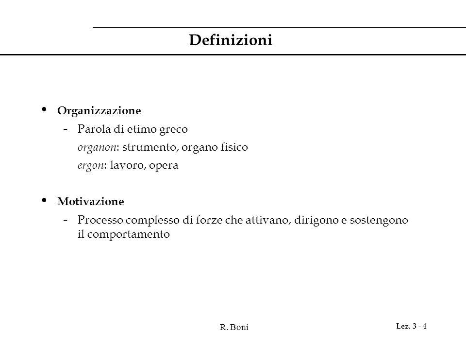 R. Boni Lez. 3 - 4 Definizioni Organizzazione - Parola di etimo greco organon : strumento, organo fisico ergon : lavoro, opera Motivazione - Processo
