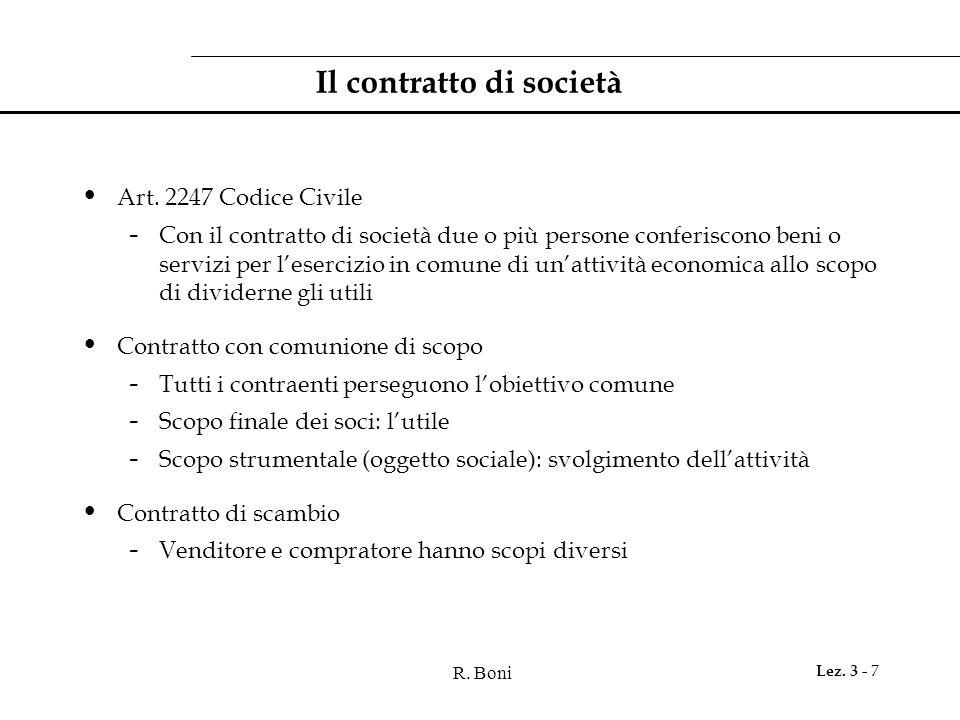 R. Boni Lez. 3 - 7 Il contratto di società Art. 2247 Codice Civile - Con il contratto di società due o più persone conferiscono beni o servizi per l'e
