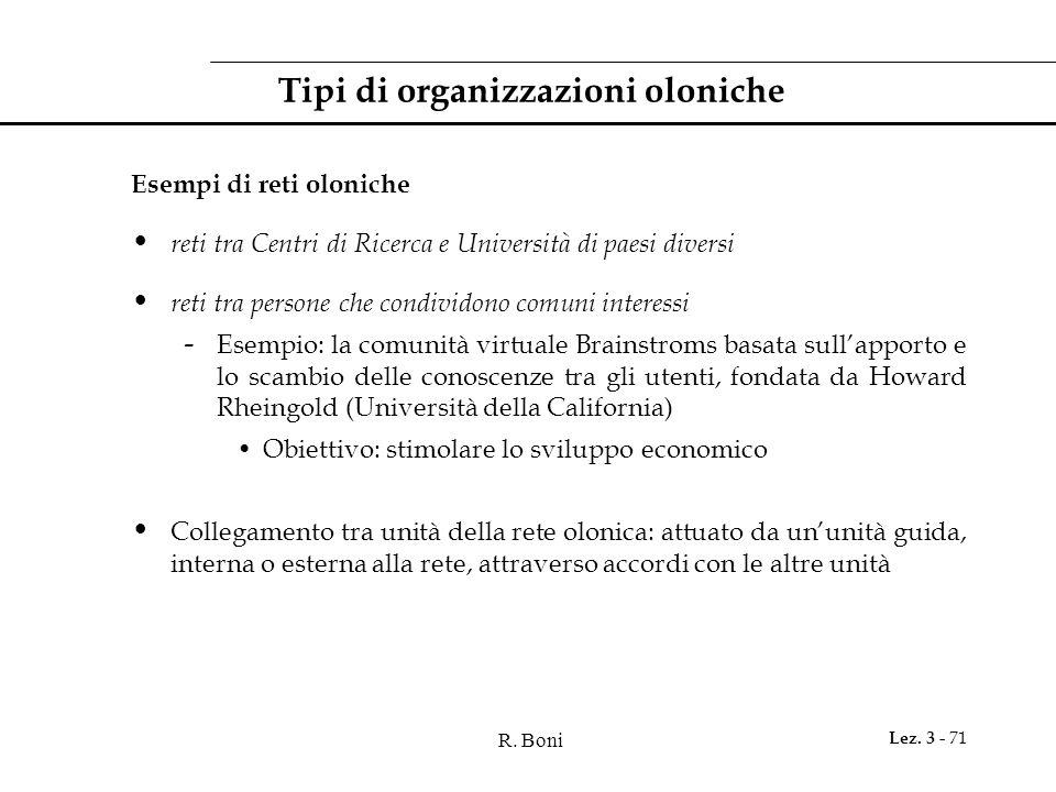 R. Boni Lez. 3 - 71 Tipi di organizzazioni oloniche Esempi di reti oloniche reti tra Centri di Ricerca e Università di paesi diversi reti tra persone