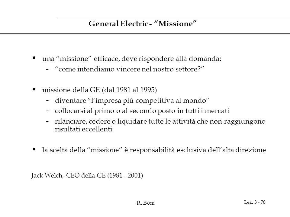 """R. Boni Lez. 3 - 78 General Electric - """"Missione"""" una """"missione"""" efficace, deve rispondere alla domanda: - """"come intendiamo vincere nel nostro settore"""
