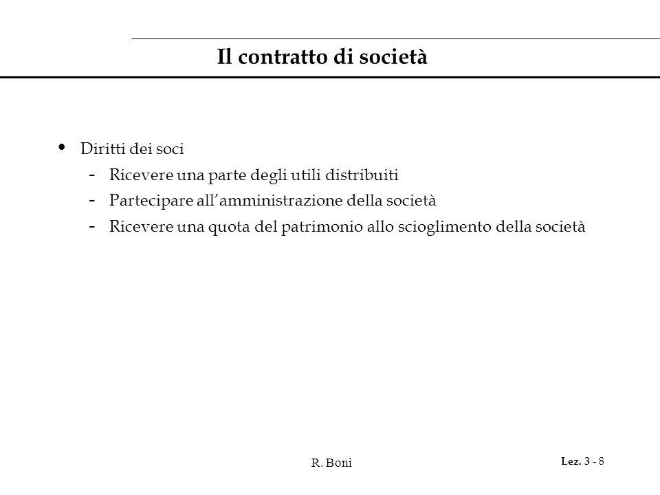 R. Boni Lez. 3 - 8 Il contratto di società Diritti dei soci - Ricevere una parte degli utili distribuiti - Partecipare all'amministrazione della socie