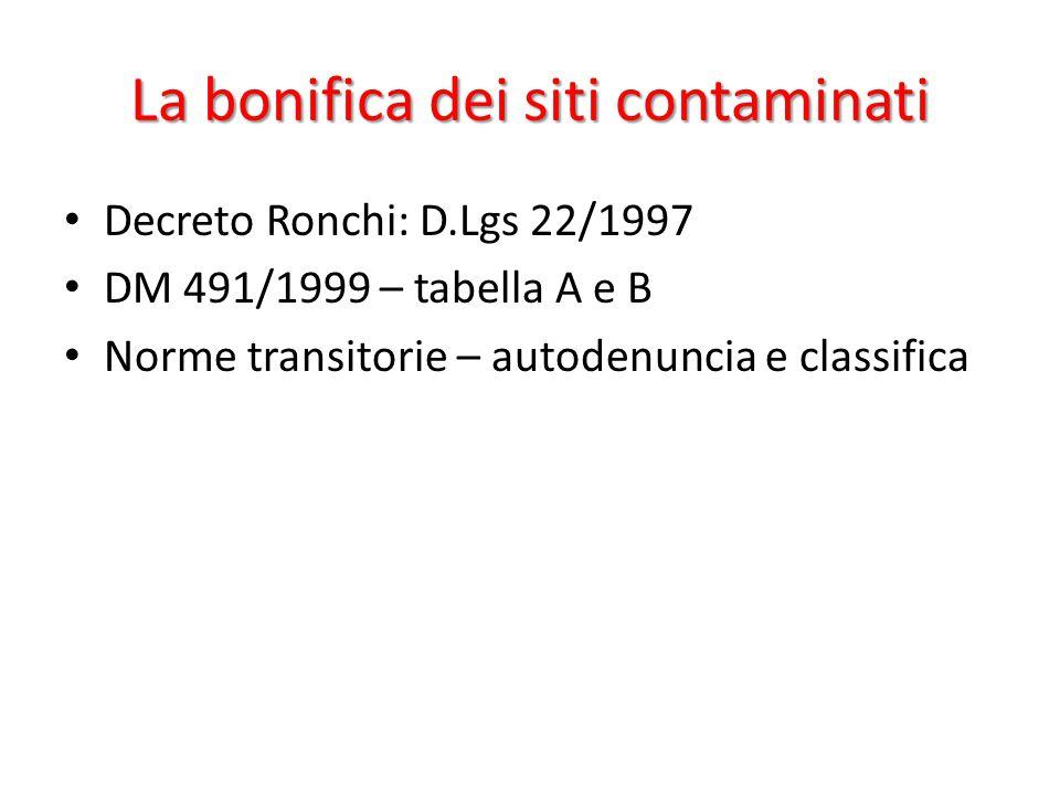 La bonifica dei siti contaminati Decreto Ronchi: D.Lgs 22/1997 DM 491/1999 – tabella A e B Norme transitorie – autodenuncia e classifica