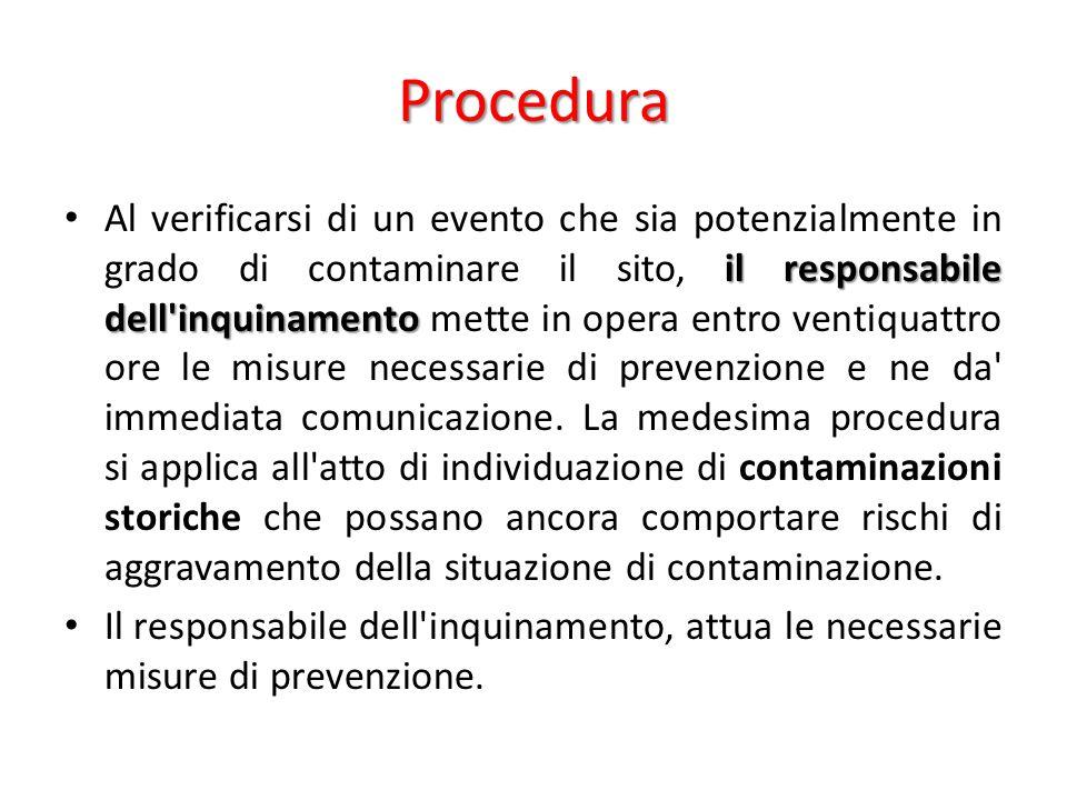 Procedura il responsabile dell'inquinamento Al verificarsi di un evento che sia potenzialmente in grado di contaminare il sito, il responsabile dell'i