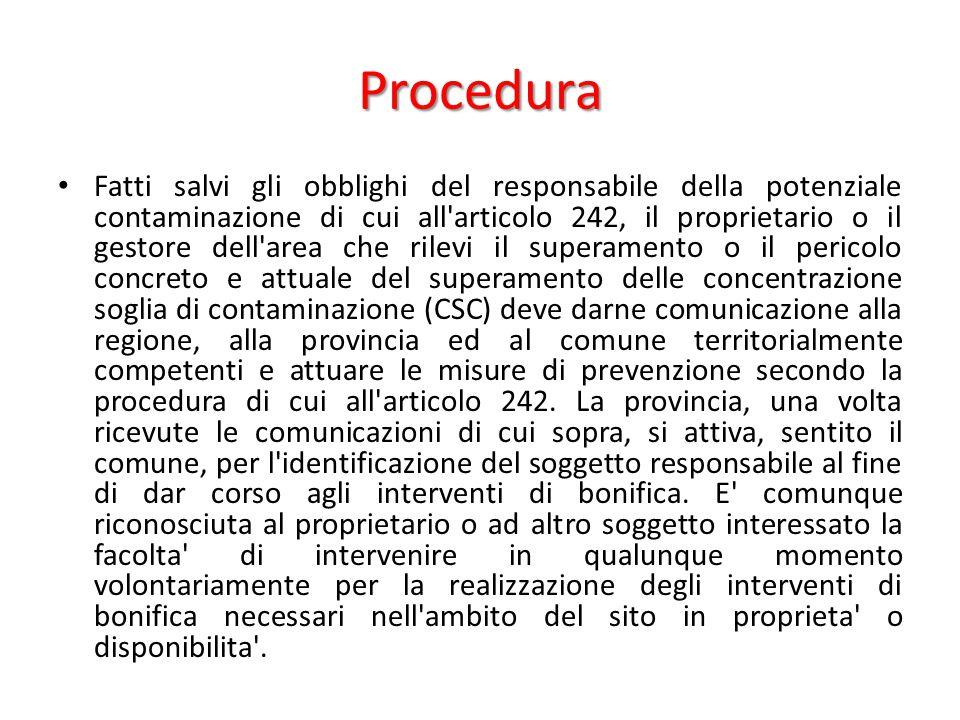 Procedura Fatti salvi gli obblighi del responsabile della potenziale contaminazione di cui all'articolo 242, il proprietario o il gestore dell'area ch