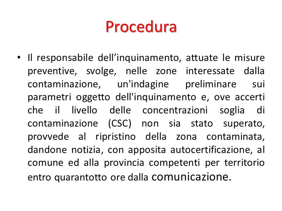 Procedura Il responsabile dell'inquinamento, attuate le misure preventive, svolge, nelle zone interessate dalla contaminazione, un'indagine preliminar