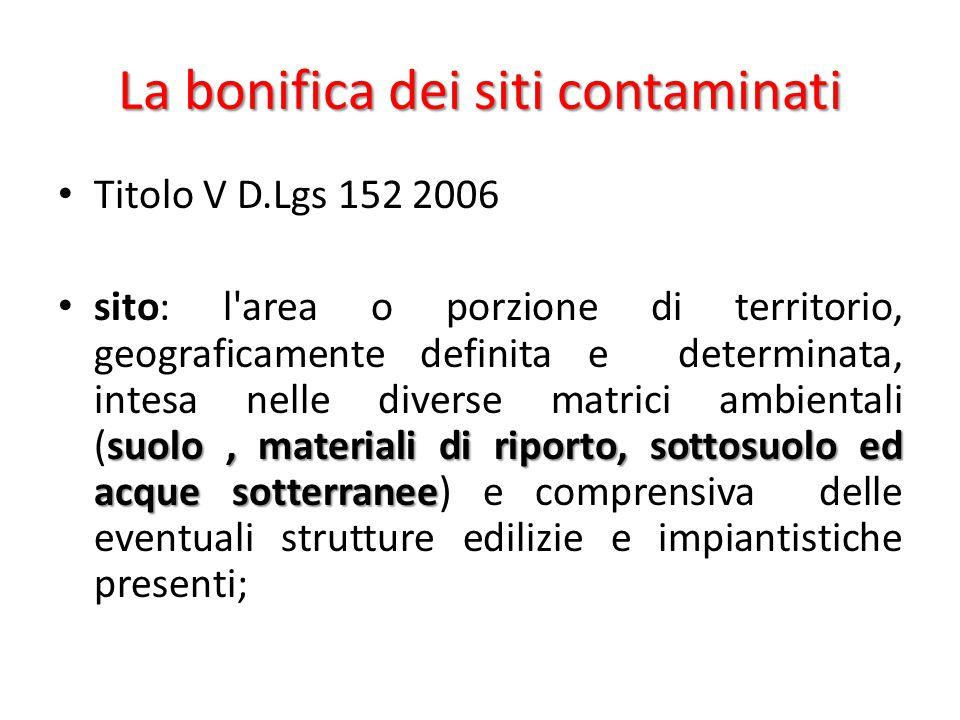 La bonifica dei siti contaminati Titolo V D.Lgs 152 2006 suolo, materiali di riporto, sottosuolo ed acque sotterranee sito: l'area o porzione di terri