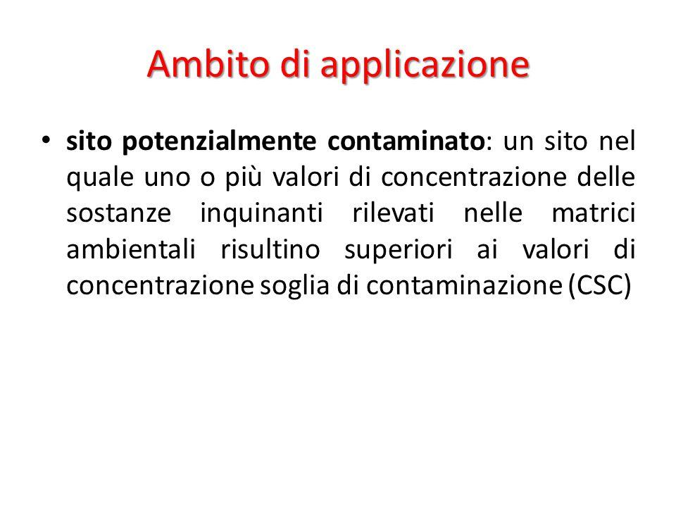 Ambito di applicazione concentrazioni soglia di contaminazione (CSC): i livelli di contaminazione delle matrici ambientali che costituiscono valori al di sopra dei quali è necessaria la caratterizzazione del sito e l analisi di rischio sito specifica.