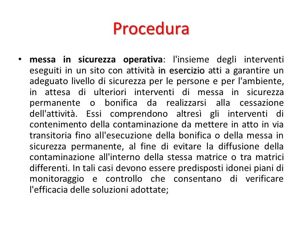Procedura in esercizio messa in sicurezza operativa: l'insieme degli interventi eseguiti in un sito con attività in esercizio atti a garantire un adeg