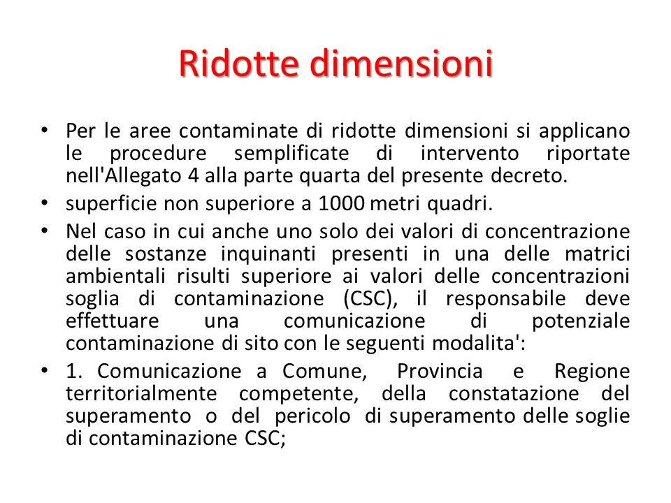 Ridotte dimensioni Per le aree contaminate di ridotte dimensioni si applicano le procedure semplificate di intervento riportate nell'Allegato 4 alla p