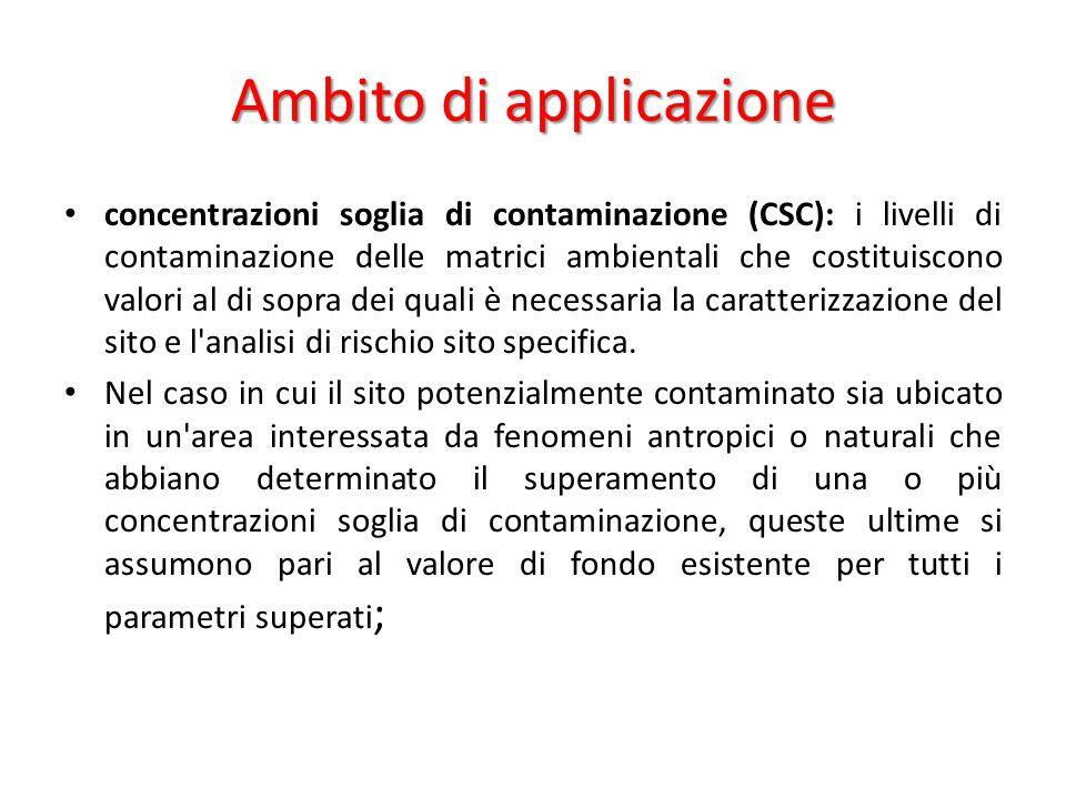 Ambito di applicazione concentrazioni soglia di contaminazione (CSC): i livelli di contaminazione delle matrici ambientali che costituiscono valori al