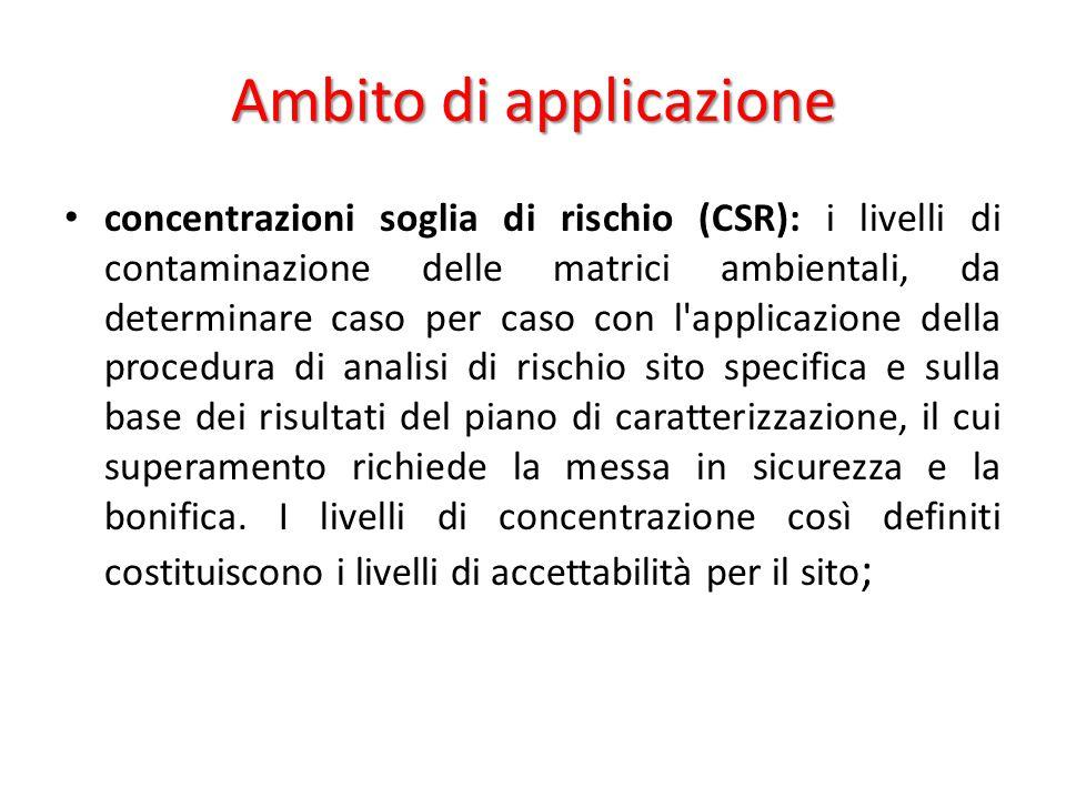 Ambito di applicazione concentrazioni soglia di rischio (CSR): i livelli di contaminazione delle matrici ambientali, da determinare caso per caso con