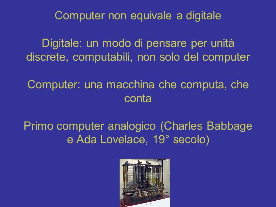 Computer non equivale a digitale Digitale: un modo di pensare per unità discrete, computabili, non solo del computer Computer: una macchina che comput