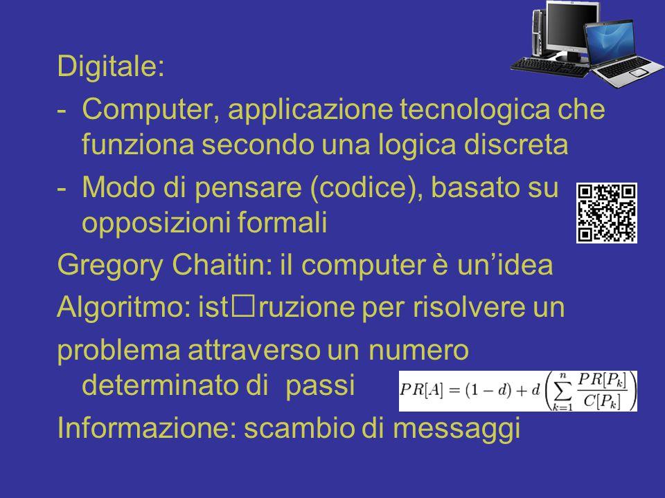 Computer non equivale a digitale Digitale: un modo di pensare per unità discrete, computabili, non solo del computer Computer: una macchina che computa, che conta Primo computer analogico (Charles Babbage e Ada Lovelace, 19° secolo)