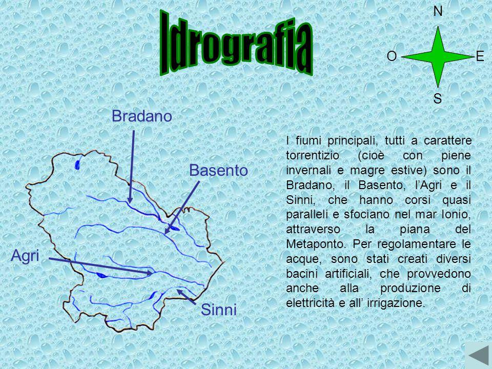 Agri Basento Bradano I fiumi principali, tutti a carattere torrentizio (cioè con piene invernali e magre estive) sono il Bradano, il Basento, l'Agri e