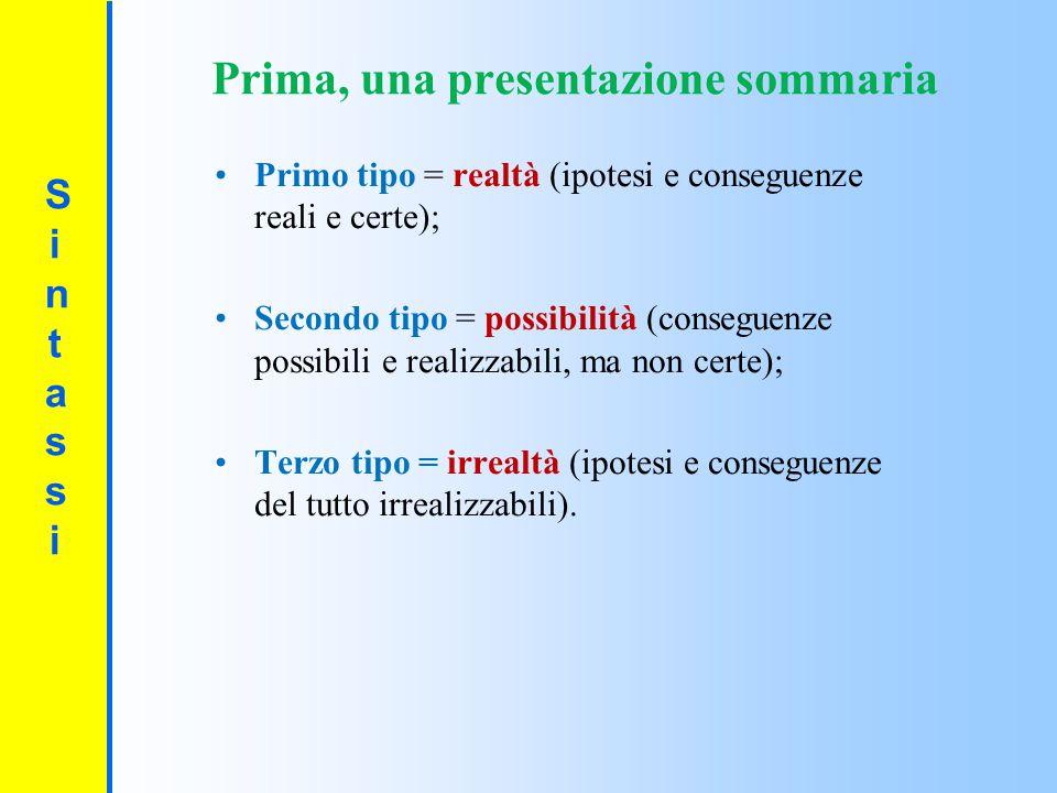 SintassiSintassi Primo tipo = realtà (ipotesi e conseguenze reali e certe); Secondo tipo = possibilità (conseguenze possibili e realizzabili, ma non c