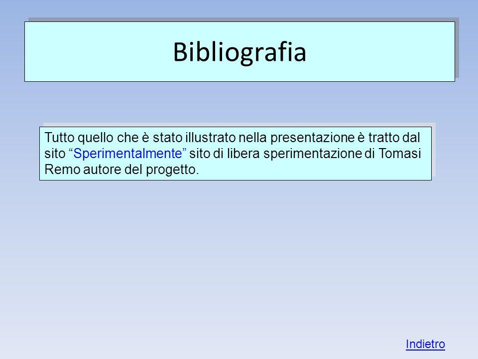 Bibliografia Tutto quello che è stato illustrato nella presentazione è tratto dal sito Sperimentalmente sito di libera sperimentazione di Tomasi Remo autore del progetto.