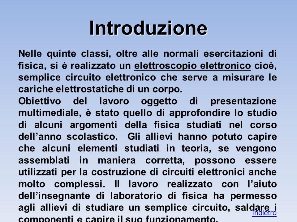 Introduzione Nelle quinte classi, oltre alle normali esercitazioni di fisica, si è realizzato un elettroscopio elettronico cioè, semplice circuito elettronico che serve a misurare le cariche elettrostatiche di un corpo.