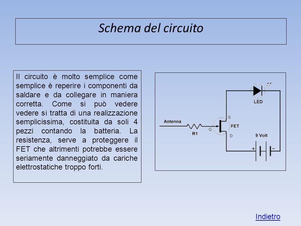 Schema del circuito Il circuito è molto semplice come semplice è reperire i componenti da saldare e da collegare in maniera corretta. Come si può vede