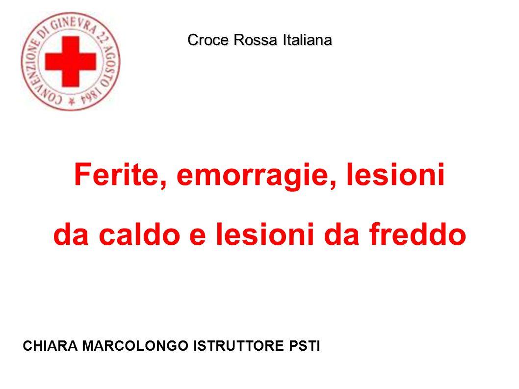 Ferite, emorragie, lesioni da caldo e lesioni da freddo Croce Rossa Italiana CHIARA MARCOLONGO ISTRUTTORE PSTI