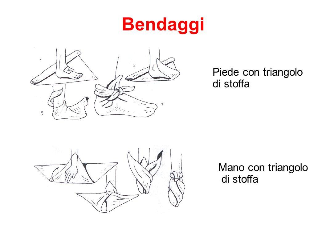 Piede con triangolo di stoffa Mano con triangolo di stoffa Bendaggi