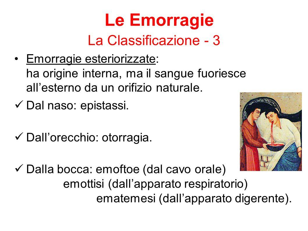 Le Emorragie La Classificazione - 3 Emorragie esteriorizzate: ha origine interna, ma il sangue fuoriesce all'esterno da un orifizio naturale. Dal naso