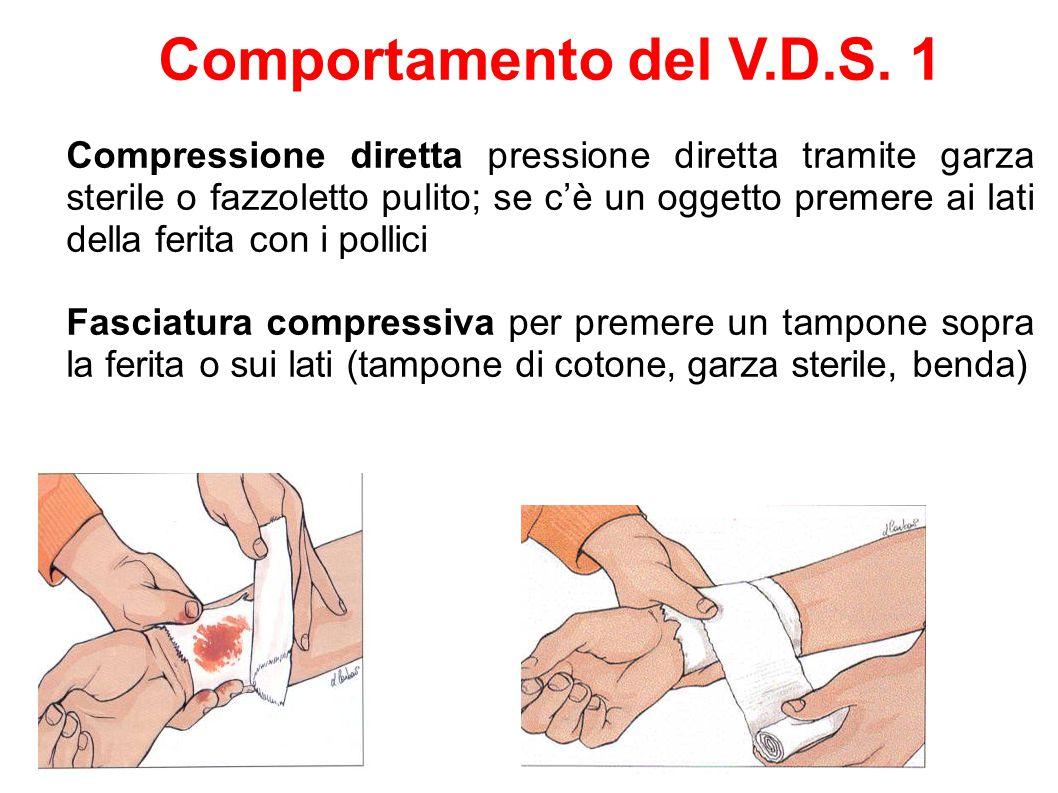 Comportamento del V.D.S. 1 Compressione diretta pressione diretta tramite garza sterile o fazzoletto pulito; se c'è un oggetto premere ai lati della f