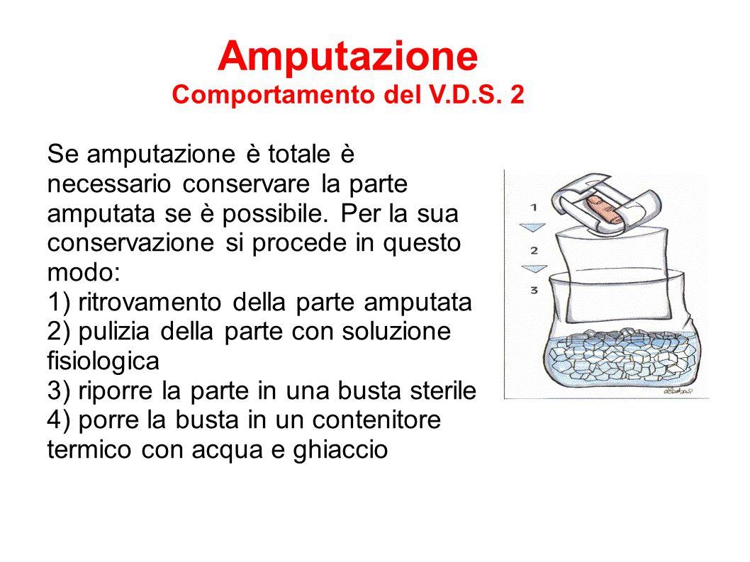 Se amputazione è totale è necessario conservare la parte amputata se è possibile. Per la sua conservazione si procede in questo modo: 1) ritrovamento