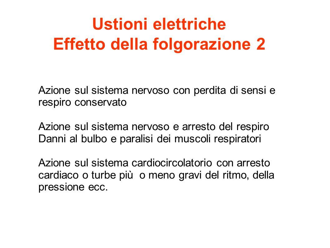 Ustioni elettriche Effetto della folgorazione 2 Azione sul sistema nervoso con perdita di sensi e respiro conservato Azione sul sistema nervoso e arre