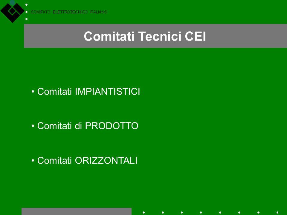 COMITATO ELETTROTECNICO ITALIANO Comitati Tecnici CEI Comitati IMPIANTISTICI Comitati di PRODOTTO Comitati ORIZZONTALI