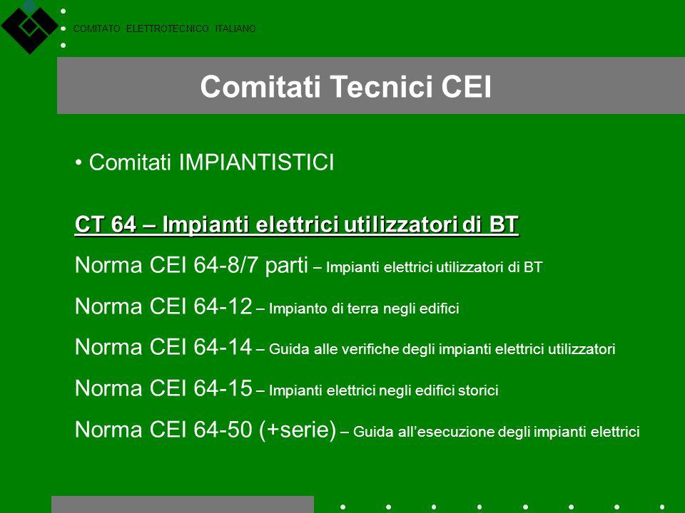 COMITATO ELETTROTECNICO ITALIANO Comitati Tecnici CEI Comitati IMPIANTISTICI CT 64 – Impianti elettrici utilizzatori di BT Norma CEI 64-8/7 parti – Im