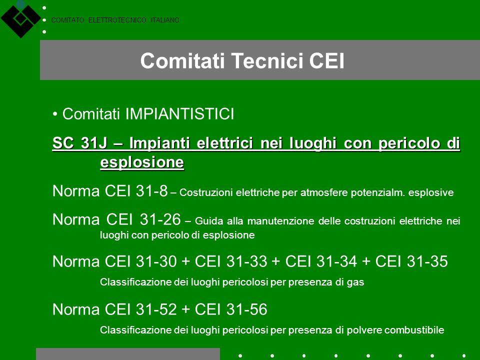COMITATO ELETTROTECNICO ITALIANO Comitati Tecnici CEI Comitati IMPIANTISTICI SC 31J – Impianti elettrici nei luoghi con pericolo di esplosione Norma C
