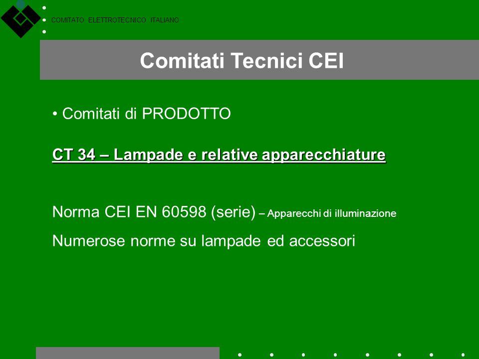 COMITATO ELETTROTECNICO ITALIANO Comitati Tecnici CEI Comitati di PRODOTTO CT 34 – Lampade e relative apparecchiature Norma CEI EN 60598 (serie) – App