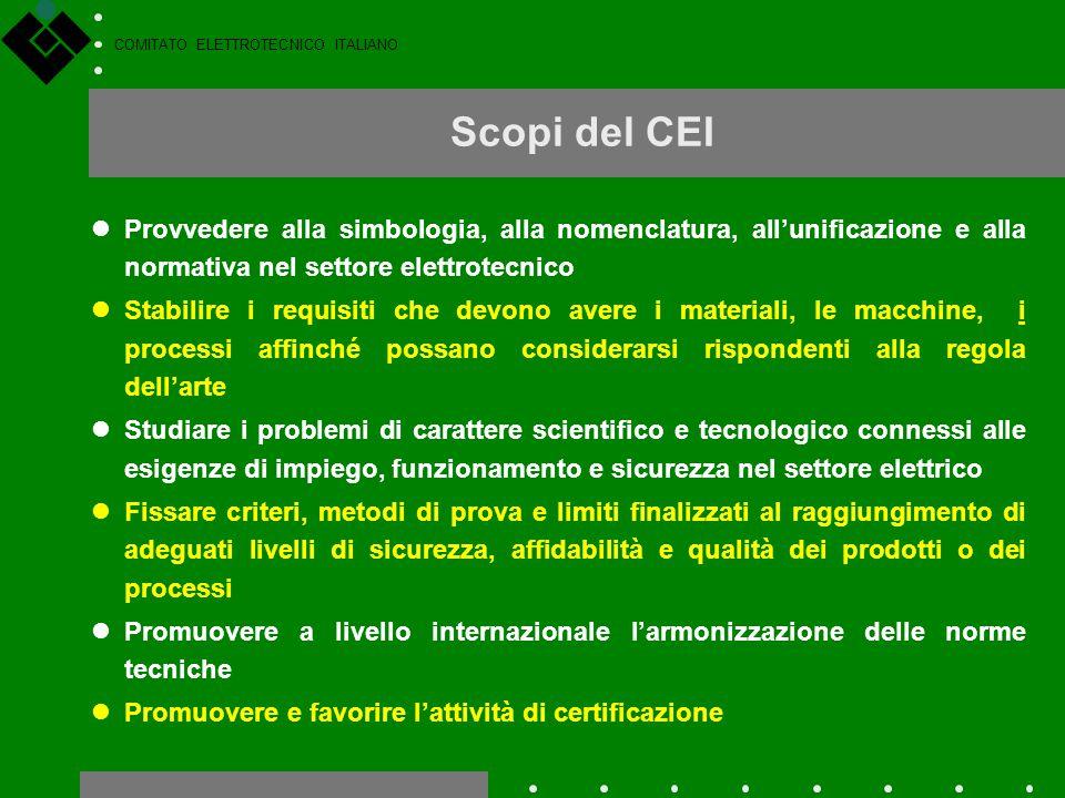 COMITATO ELETTROTECNICO ITALIANO Scopi del CEI Provvedere alla simbologia, alla nomenclatura, all'unificazione e alla normativa nel settore elettrotec