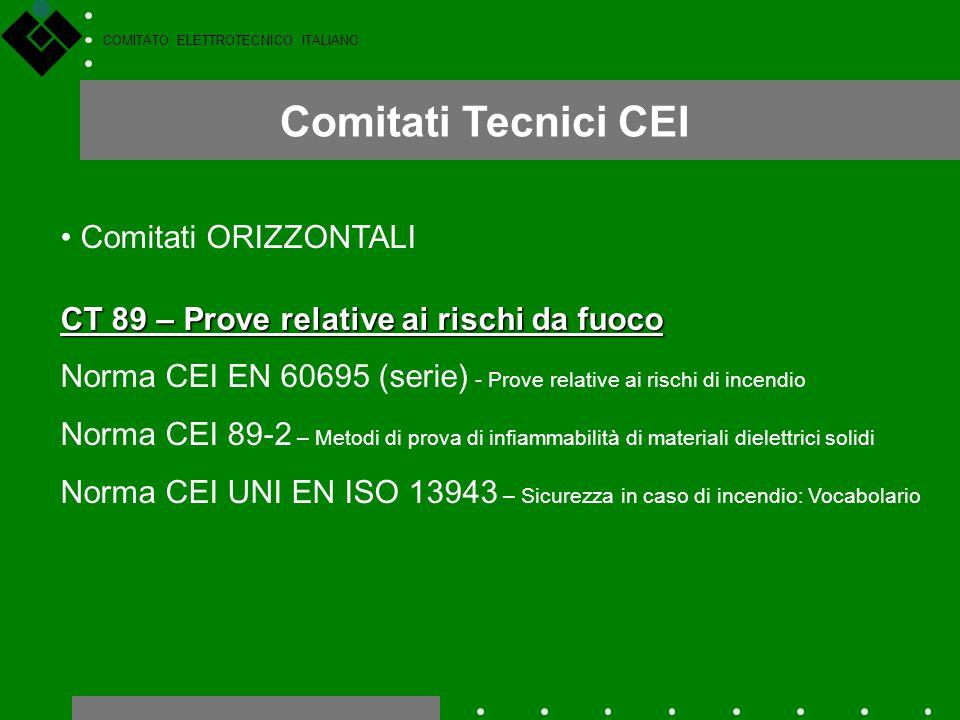 COMITATO ELETTROTECNICO ITALIANO Comitati Tecnici CEI Comitati ORIZZONTALI CT 89 – Prove relative ai rischi da fuoco Norma CEI EN 60695 (serie) - Prov