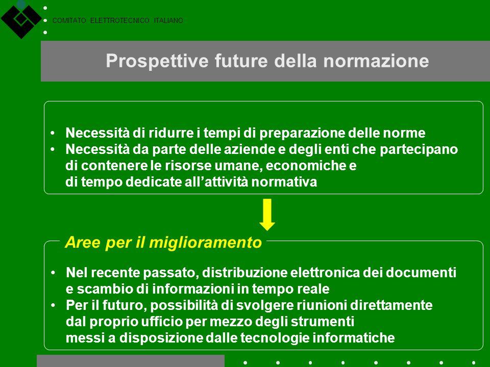 COMITATO ELETTROTECNICO ITALIANO Prospettive future della normazione Necessità di ridurre i tempi di preparazione delle norme Necessità da parte delle