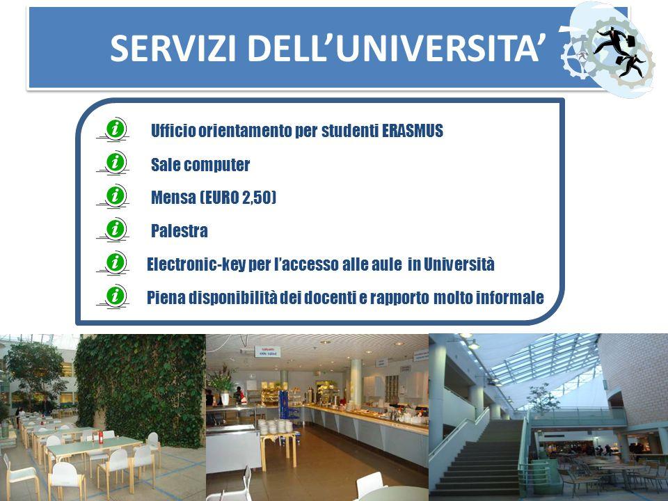 SERVIZI DELL'UNIVERSITA' Sale computer Mensa (EURO 2,50) Palestra Ufficio orientamento per studenti ERASMUS Electronic-key per l'accesso alle aule in