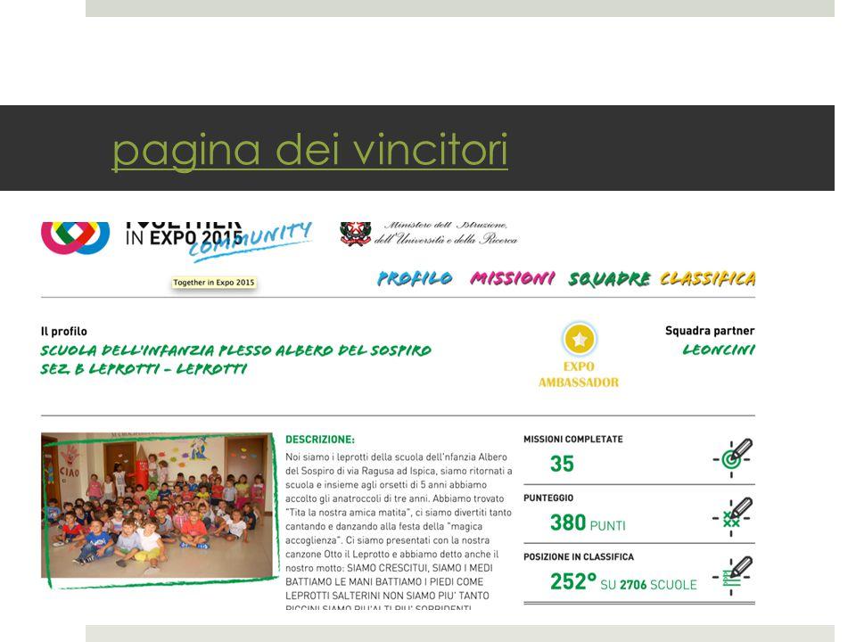 pagina dei vincitori