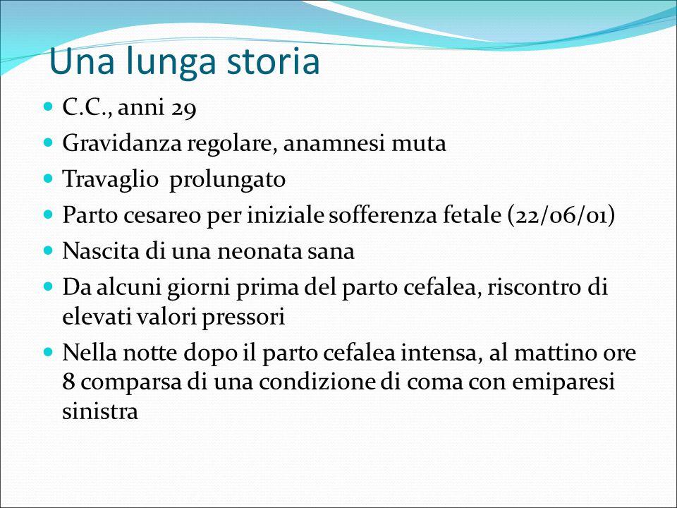 Una lunga storia C.C., anni 29 Gravidanza regolare, anamnesi muta Travaglio prolungato Parto cesareo per iniziale sofferenza fetale (22/06/01) Nascita