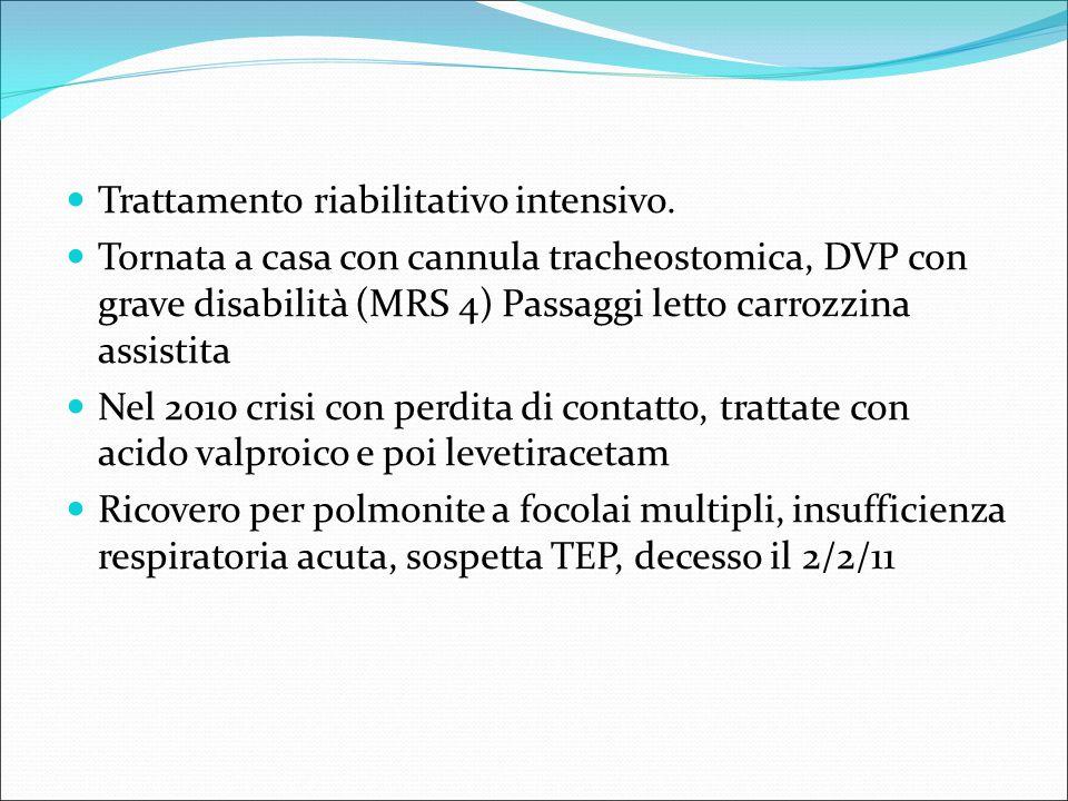 Trattamento riabilitativo intensivo. Tornata a casa con cannula tracheostomica, DVP con grave disabilità (MRS 4) Passaggi letto carrozzina assistita N