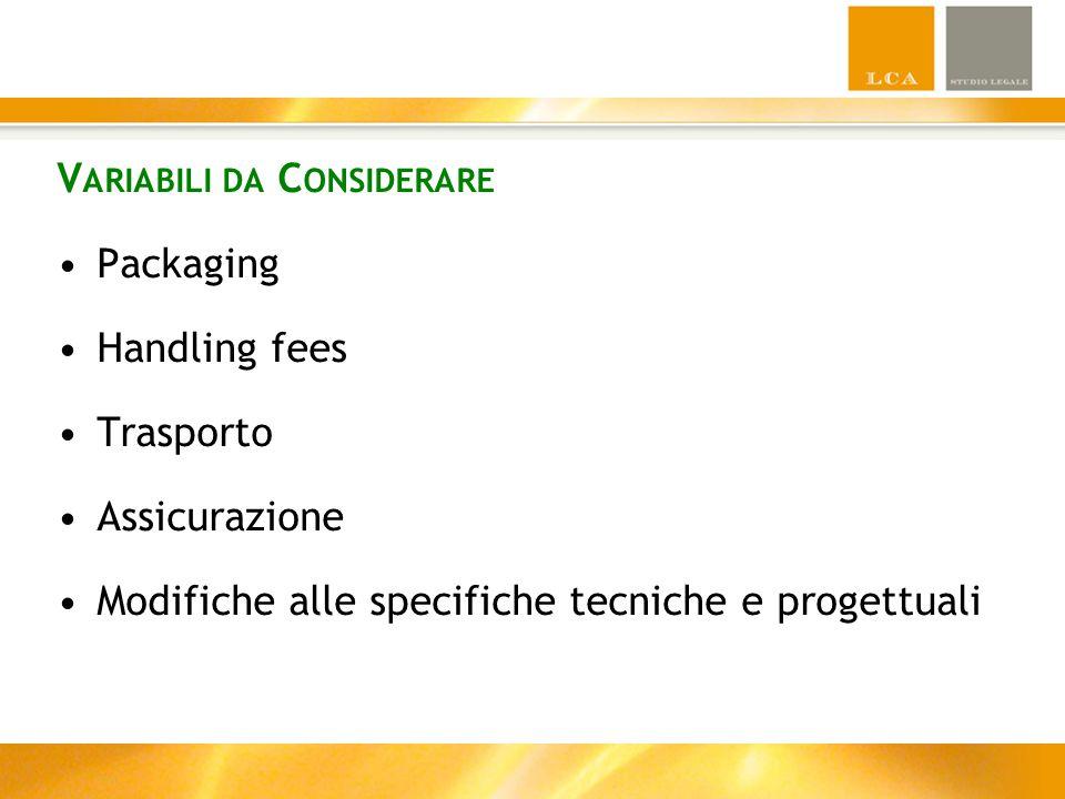 V ARIABILI DA C ONSIDERARE Packaging Handling fees Trasporto Assicurazione Modifiche alle specifiche tecniche e progettuali